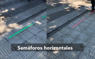 Semáforos en el suelo para proteger a los peatones despistados